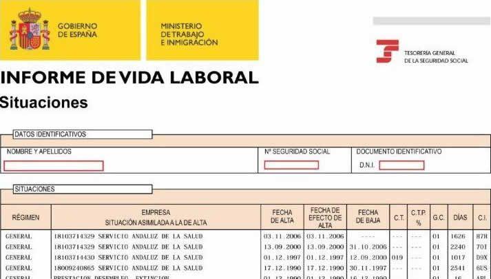 Certificado de vida laboral en Valencia